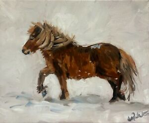 A4 print of Original oil painting art little brown pony in snow equestrian horse