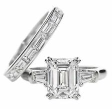 Certified 4.00Ct Emerald Cut Diamond Engagement Wedding Ring Set 14k White Gold