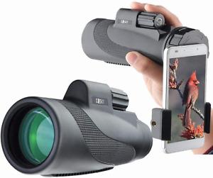 Gosky Titan 12X50 High Power Prism Monocular and Quick Smartphone Holder - Fog-