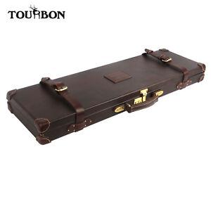 Tourbon Canvas/Leather Shot Gun Case Take Down Rifle Case Hard Gun Cabinet Safe