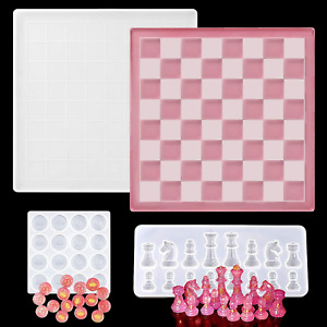 Chess Board Silicone Resin Molds,Checkers Board Crystal Epoxy Resin Casting Mold