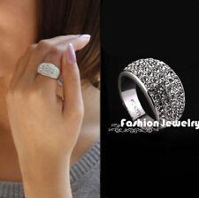 Chic Fashion Women Small Silver Full Rhinestones Crystal Ring Jewelry Gift 2016