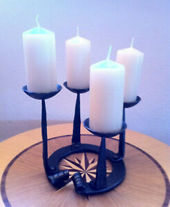 Hand Forged Candlestick Candle Holder 4 Candles Tabletop Decor Round Handmade