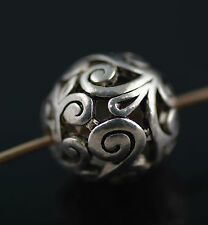 10Ps Tibet Sliver Hollow Out Round Loose Bead Spacer Charms Finding 14mm