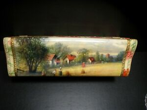 RARE CELLULOID ENGLISH EMBOSSED VICTORIAN HARVEST SCENE FLORAL GLOVE BOX W/GOLD