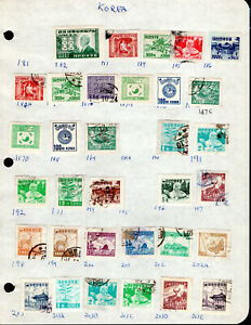 KOREA Stamp Lot #31: Assorted Scott #182-203E, Mint & Used