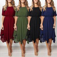 Women Summer Short Sleeve Party Evening Beach Dresses Knee Length Dress Sundress