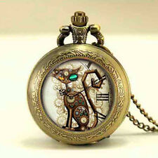 Quartz Steampunk Cat Locket Style Pocket Watch Necklace