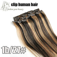 "Real Human Hair Extensions Full Head 16""-30"" Weight 80g 100g 120g 140g Clips In"