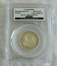 1997 £1 1/2oz BRITANNIA SILVER PROOF SLABBED CGS 97