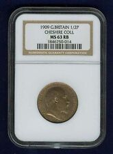 GREAT BRITAIN EDWARD VII  1909  HALF PENNY, UNCIRCULATED, CERTIFIED NGC MS63-RB