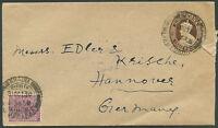 BRITISH INDIA TO GERMANY Postal Stationery + Stamp