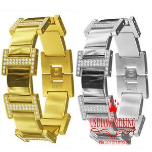 Custom Heavy 14K Gold Finish Lab Diamond Mens Stainless Steel Bracelet 8.25''