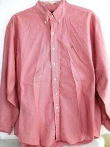 Mens Ralph Lauren Polo-Blake Button Down Dress Shirt-Extra Large-XL, Red/Pink