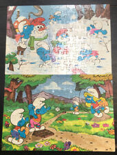 """LOT OF 2 MB 1982 SMURF 100 PIECE 16"""" X 11"""" COMPLETE PUZZLES * 4190-10 * 4190-9 *"""