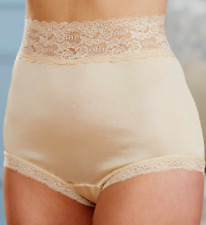 "GORGEOUS 3"" LACE TRIM NYLON MOCHA BEIGE FULL BRIEF MISSES SIZE 9 XXLARGE NWT"