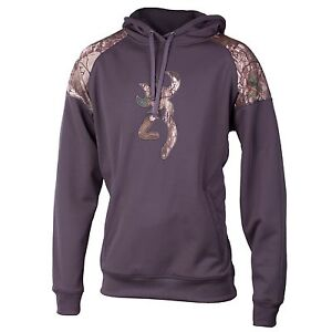 Browning Buckmark Gauge Hoodie Men's XL Realtree Camo Nine Iron Gray NEW
