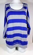 No Boundaries Womens Size XL (15-17) Blouse Blue Gray Striped Long Sleeves