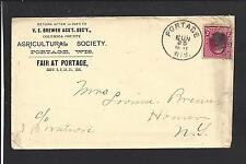 PORTAGE, WISCONSIN 1891 COVER,#220, ADVT. AGRICULTURAL SOCIETY. COLUMBIA CO./OP.