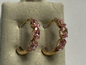14K Solid Gold Zirconia Tubular Hoop Earring Signed P