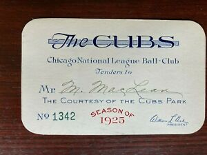 1925 Chicago Cubs original baseball annual pass - tickets