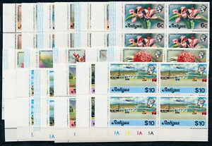 ANTIGUA 1976 DEFINITIVES SG469A/486A PLATE BLOCKS OF 4 MNH