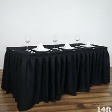 """14"""" Black POLYESTER PLEATED TABLE SKIRT Tradeshow Wedding Catering Supplies"""
