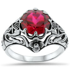 ANTIQUE ART NOUVEAU STYLE LAB RUBY .925 STERLING SILVER FILIGREE RING Sz 5, #321