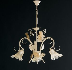 Hanging Ceiling Lamp Classic Wrought Iron Flowers Leaves Gold Art Povera