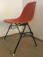 Vintage Mid Century Modern Eames Herman Miller Orange Fiberglass Stacking Chair
