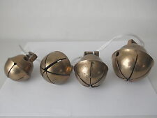 4 Antique Triple Throat Brass? Sleigh BELLS~~Graduating Size~~Number 10 Largest