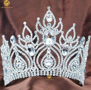 Beauty Contest Contoured Tiara Brides Hair Crown Rhinesotnes Wedding Headband