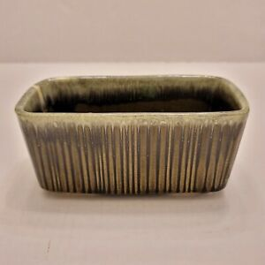 Vintage Rectangle HULL Brown Green Drip Glaze Ribbed Pottery Planter F467