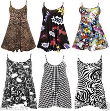 Womens Ladies & Girls Sleeveless Printed Strappy Cami Swing Dress Long Top 8-26