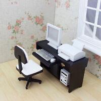 Neu 1:12 Puppenhaus Miniatur Computer Schreibtisch Tastatur Drucker  Computer