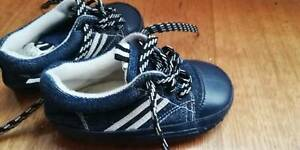 Pumpkin Patch Baby shoes size 5 with laces. Jeans/Denim Fabric on top