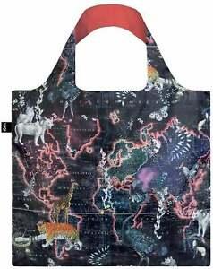 LOQI Reusable Tote Bag World Map Animal Print (Kristjana S Williams) Travelling