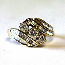 10k yellow gold ladies .96ct SI2 SI3 H womens diamond cluster ring 5.2g vintage