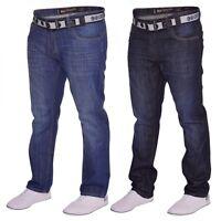 Mens Crosshatch Straight Leg Dark Blue Stonewash Denim Jeans- Free Belt