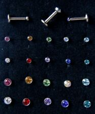 6/ 8mm Internally Threaded Bar Labret Color 2/ 3mmCrystal Gem Earring Stud Helix