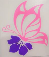 Butterfly & Flower Car Window Vinyl Decal Sticker PINK & PURPLE ONLY