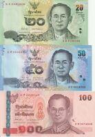 SET THAILAND 20,50,100 BAHT 2012-17 UNC  BANKNOTE