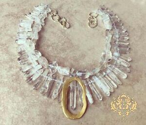 Modern Bride Clear White Rock Quartz Statement Necklace Chunky Jewelry 22K Gold