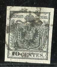 1850 10 CENT NERO SAS. n° 2 FRESCO, MARGINATO E BEN ANNULLATO. INSIEME SPL