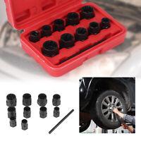 Nut Bolt Stud Extractor Twist Socket Locking Wheel Nut Removers Tool Kit 11pc