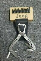 Jeep Multi-Tool Folding Pocket Knife 11pc Bit Set Pliers w/ sheath EDC