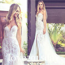 Applique Split Mermaid White/Ivory Beach Wedding Dress Bridal Gown Custom Size
