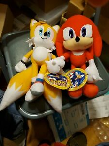 """Tails and Knuckles Plush Stuffed Dolls Toy 12"""" New with Tag Licensed Sega"""