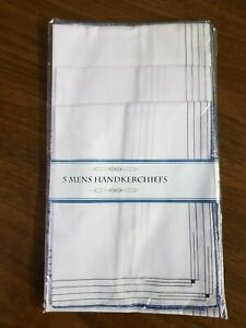 Pack of 5 Mens Hankies Handkerchiefs Hanky White with Borders Cotton/Polyester