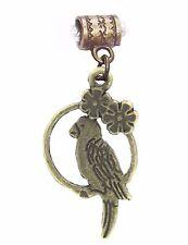Parrot Bird Tropical Flower Pet Bronze Brown Dangle Charm for European Bracelets